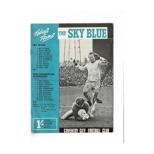 1967/68 Coventry City v Wolves Football Programme