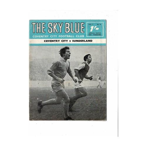 1968/69 Coventry City v Sunderland Football Programme