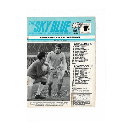 1969/70 Coventry City v Liverpool FA Cup Football Programme