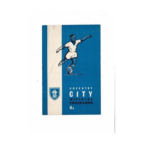 1961/62 Coventry City v Reading Football Programme