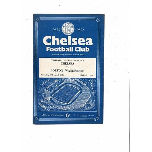1953/54 Chelsea v Bolton Wanderers Football Programme