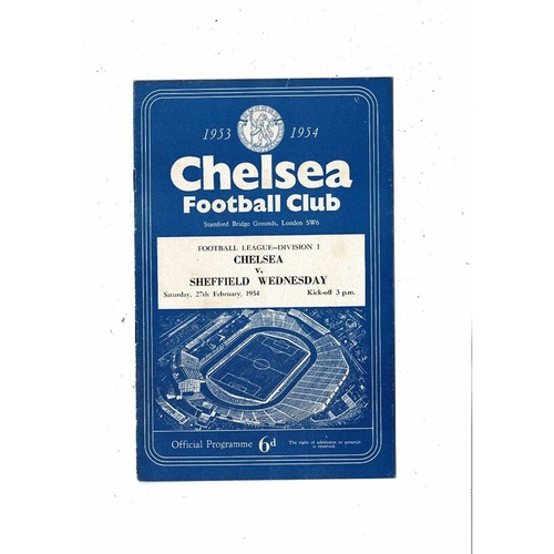 1953/54 Chelsea v Sheffield Wednesday Football Programme