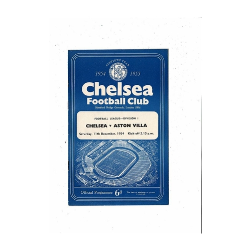 1954/55 Chelsea v Aston Villa Championship Season Football Programme