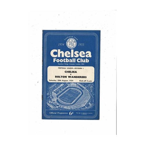 1954/55 Chelsea v Bolton Wanderers Championship Season Football Programme