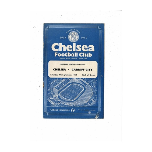 1954/55 Chelsea v Cardiff City Championship Season Football Programme