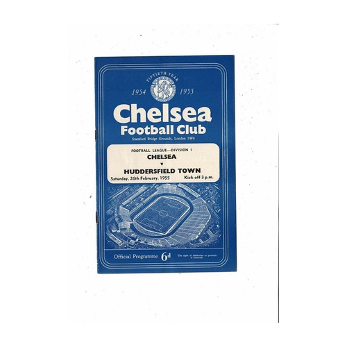 1954/55 Chelsea v Huddersfield Town Championship Season Football Programme