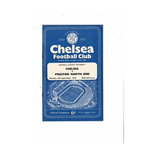 1954/55 Chelsea v Preston Championship Season Football Programme
