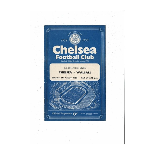 1954/55 Chelsea v Walsall Championship Season FA Cup Football Programme