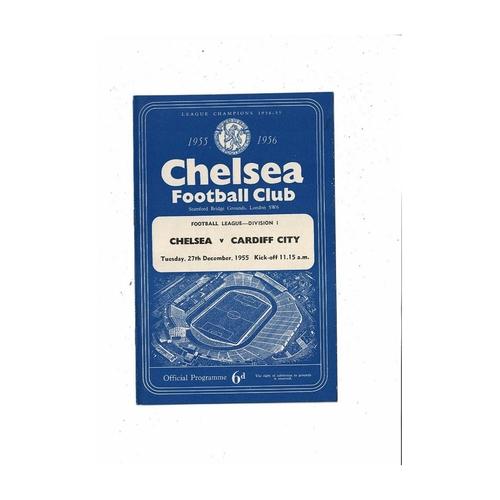 1955/56 Chelsea v Cardiff City Football Programme