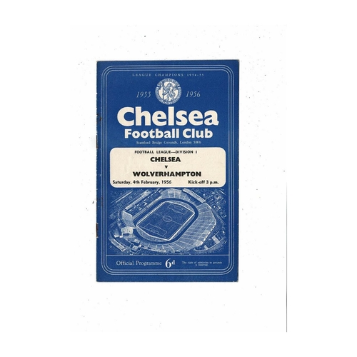 1955/56 Chelsea v Wolves Football Programme
