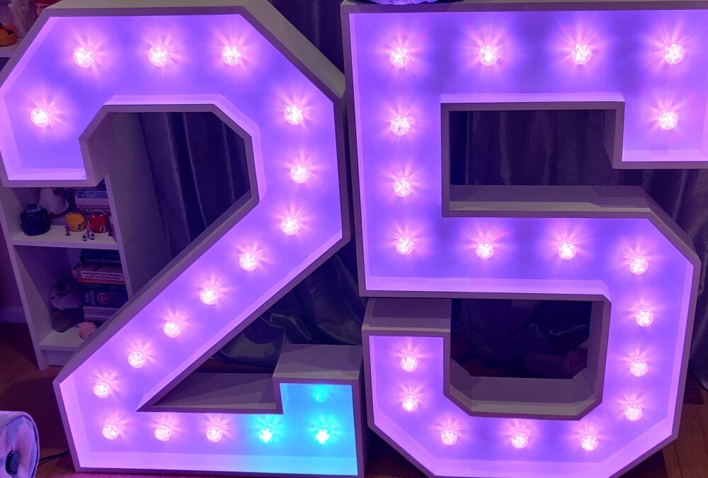 Light Up 25 Numbers, pink