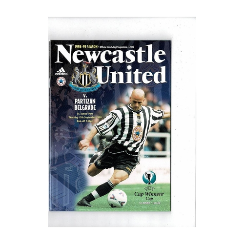 Newcastle United v Partizan European Cup Winners Cup Football Programme 1998/99