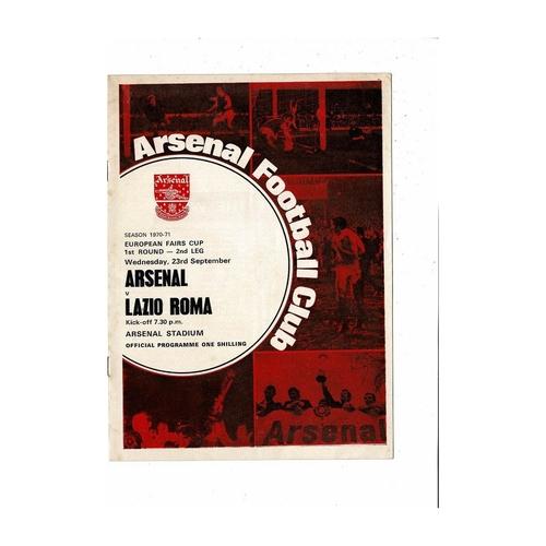 Arsenal v Lazio Fairs Cup Football Programme 1970/71