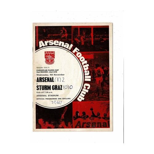 Arsenal v Sturm Graz Fairs Cup Football Programme 1970/71