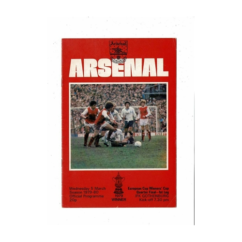 Arsenal v Gothenburg European Cup Winners Cup Football Programme 1979/80