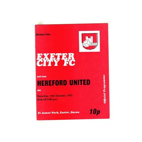1972/73 Exeter City v Hereford United Football Programme