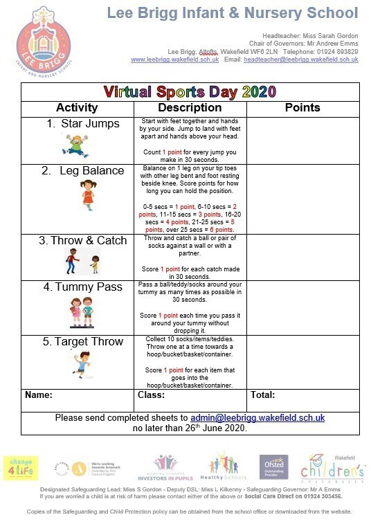 Virtual Sports Day 2020 / National School Sport Week at Home 2020