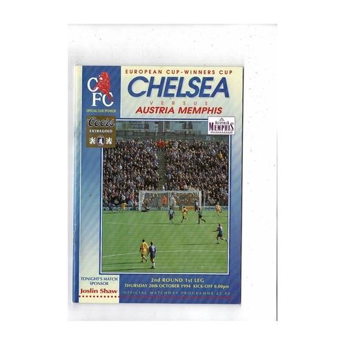 Chelsea v Austria Memphis European Cup Winners Cup Football Programme 1994/95