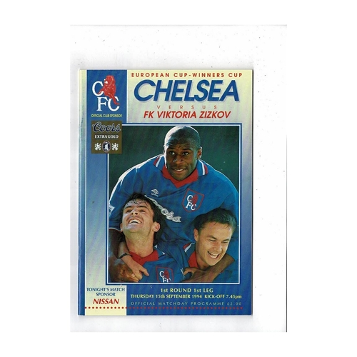 Chelsea v Viktoria Zizkov European Cup Winners Cup Football Programme 1994/95