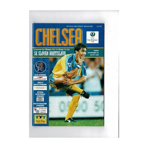 Chelsea v Slovan Bratislava European Cup Winners Cup Football Programme 1997/98