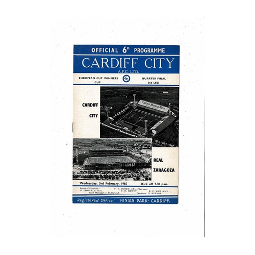 Cardiff City v Real Zaragoza European Cup Winners Cup Football Programme 1964/65