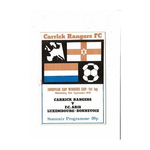 Carrick Rangers v Aris European Cup Winners Cup Football Programme 1976/77