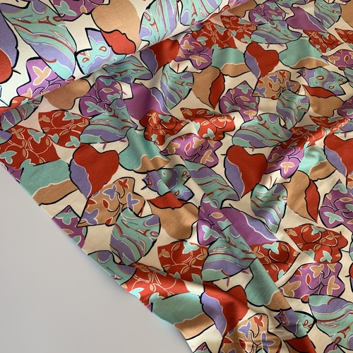 Arty Leaves Light Viscose Jersey 2.24m Remnant
