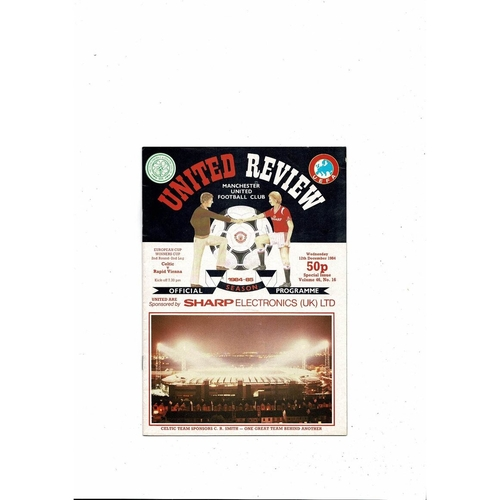 Celtic v Rapid Vienna European Cup Winners Cup Football Programme 1984/85 @ Manchester United