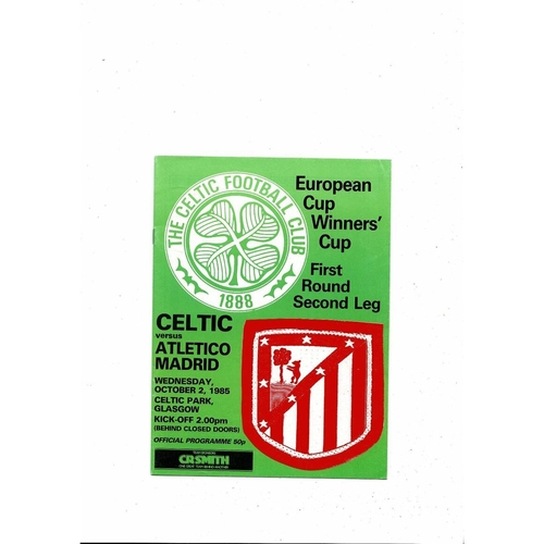 Celtic v Atletico Madrid European Cup Winners Cup Football Programme 1985/86