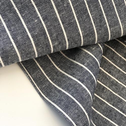 Navy Stripe Viscose Linen