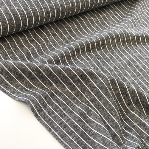 Black Stripe Viscose Linen