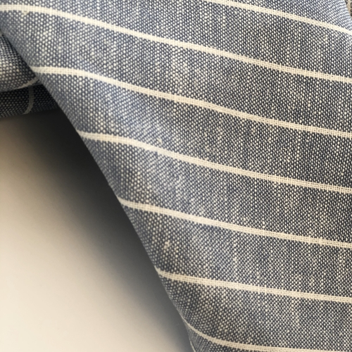 Blue Stripe Viscose Linen