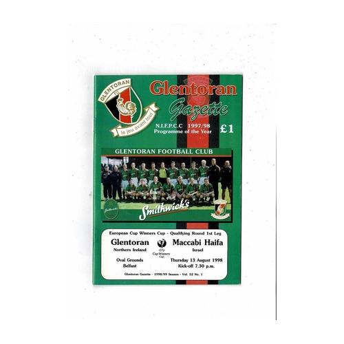 Glentoran v Maccabi Haifa European Cup Winners Cup Football Programme 1998/99