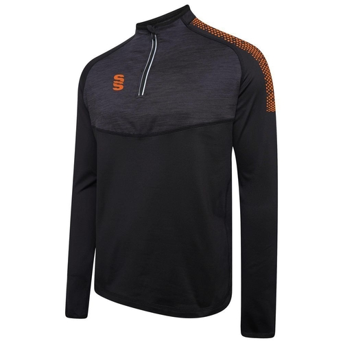 CWCC DUAL 1/4 ZIP MIDLAYER BLACK / ORANGE