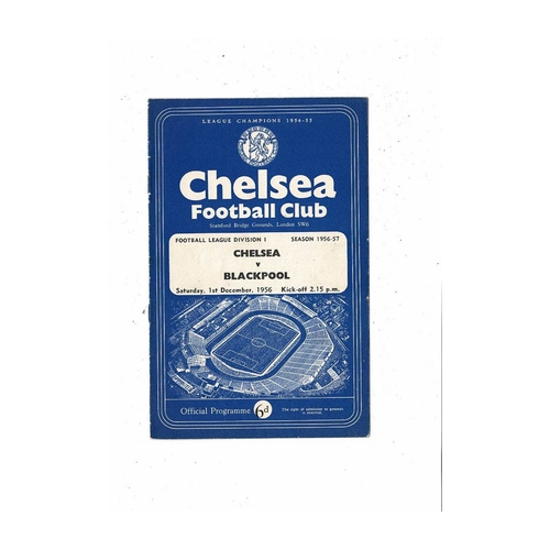 1956/57 Chelsea v Blackpool Football Programme