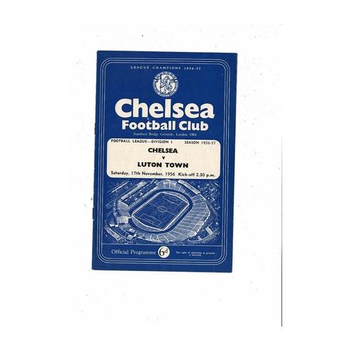 1956/57 Chelsea v Luton Town Football Programme