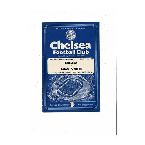 1956/57 Chelsea v Leeds United Football Programme
