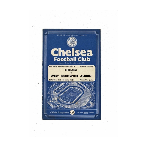 1956/57 Chelsea v West Bromwich Albion Football Programme