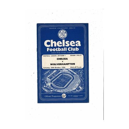 1956/57 Chelsea v Wolves Football Programme