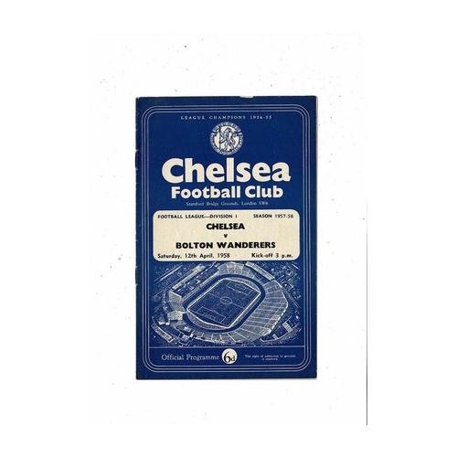 1957/58 Chelsea v Bolton Wanderers Football Programme
