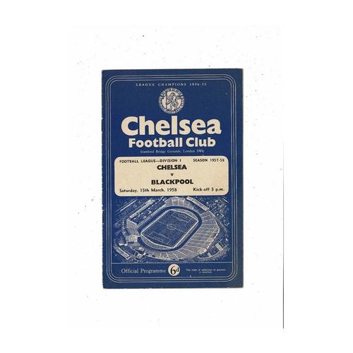 1957/58 Chelsea v Blackpool Football Programme