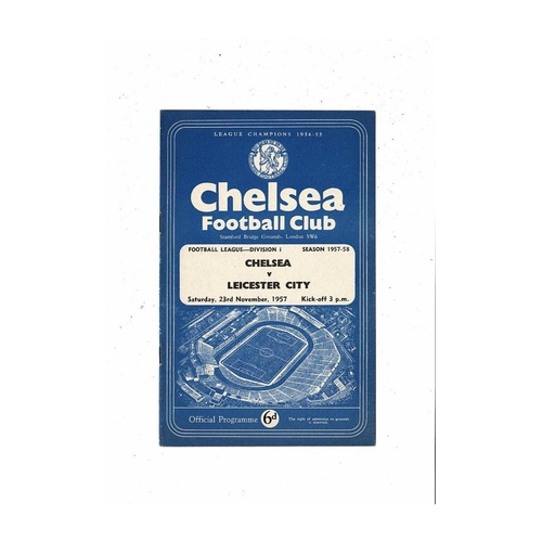1957/58 Chelsea v Leicester City Football Programme