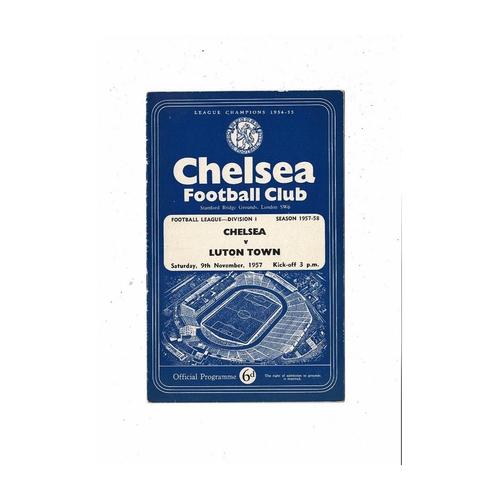 1957/58 Chelsea v Luton Town Football Programme