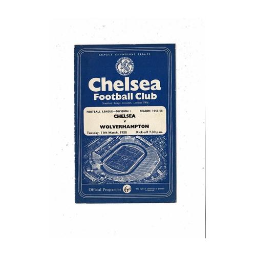 1957/58 Chelsea v Wolves Football Programme
