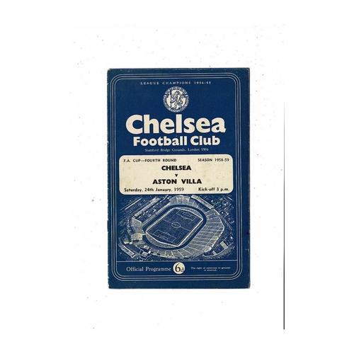 1958/59 Chelsea v Aston Villa FA Cup Football Programme