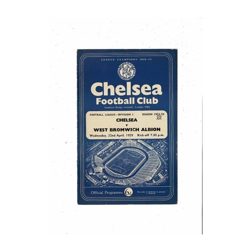 1958/59 Chelsea v West Bromwich Albion Football Programme
