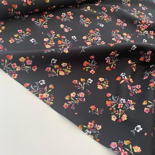 Floral Delight Black Cotton Poplin
