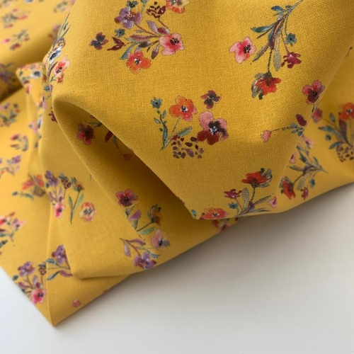 Floral Delight Bright Yellow Cotton Poplin