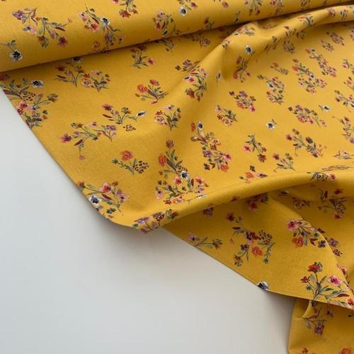 Floral Delight Bright Yellow Cotton Poplin