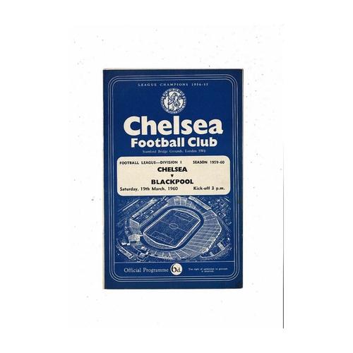 1959/60 Chelsea v Blackpool Football Programme
